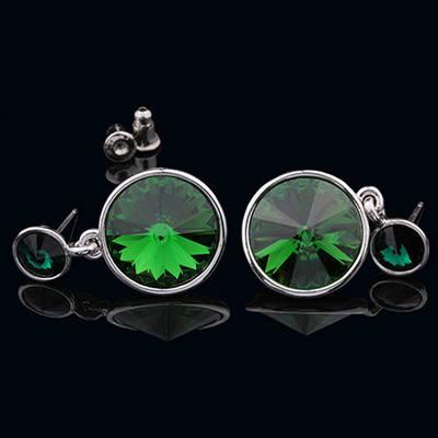 012-0028 - Серьги с кристаллами Swarovski Rivoli Light Emerald родий