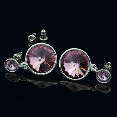 012-0029 - Серьги с кристаллами Swarovski Rivoli Light Amethyst родий
