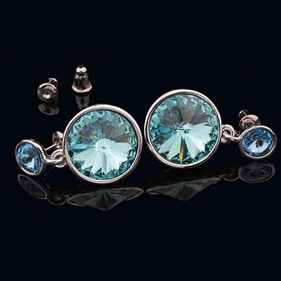 012-0030 - Серьги с кристаллами Swarovski Rivoli Aquamarine родий