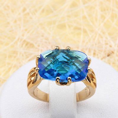 R1-0819 - Кольцо с ярко-голубым фианитом позолота, 16 р.