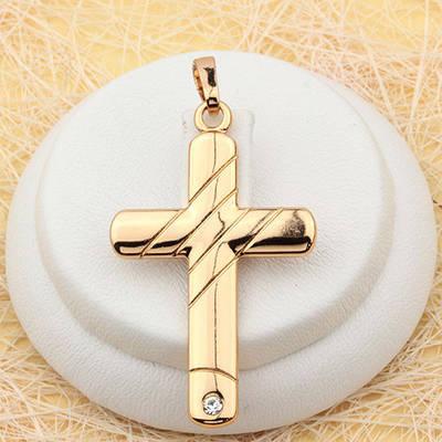 R4-0495 - Кулон-крест с прозрачным фианитом позолота