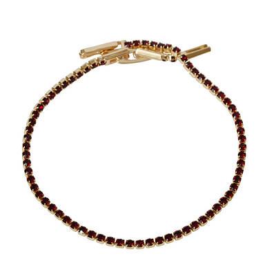 R10-0719 - Позолоченный браслет с бордовыми фианитами, 17-19 см, 19 см