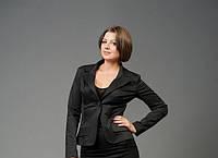 Женский пиджак черный размеры 44-58, длинный рукав