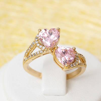 002-2250 - Позолоченное кольцо с розовыми и прозрачными фианитами, 18.5 р.