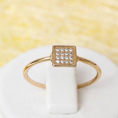 002-2268 - Позолоченное кольцо с прозрачными фианитами, 18.5 р.