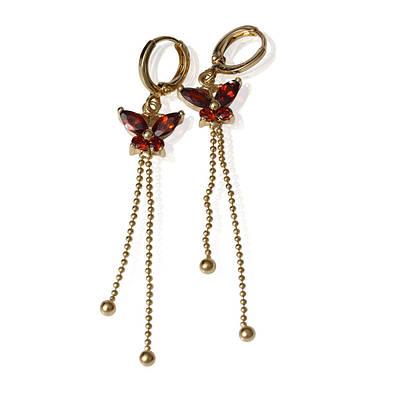008-3176 - Позолоченные серьги с красными фианитами