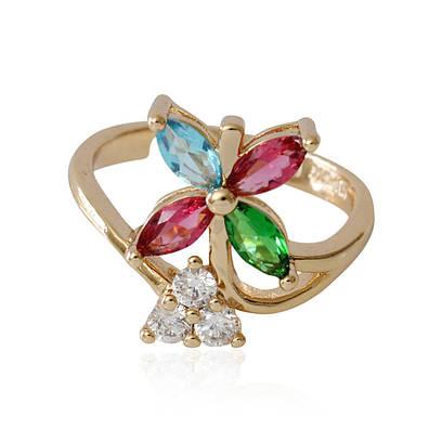 R1-2200 - Позолоченное кольцо с цветными и прозрачными фианитами, регулируется от 17 до 18 р.