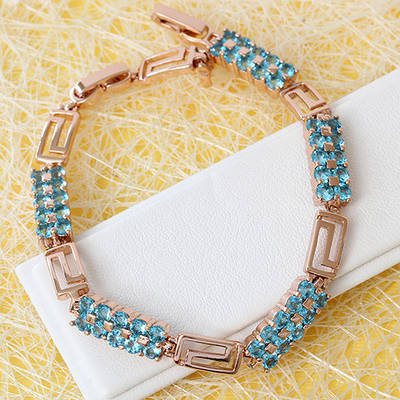 005-0767 - Браслет с ярко-голубыми фианитами розовая позолота, 17.5-20 см