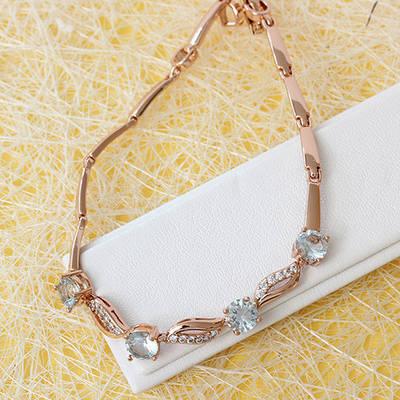 005-0782 - Браслет со светло-голубыми и прозрачными фианитами розовая позолота, 18-20 см