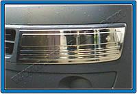 Накладки на передний бампер Volkswagen T5 Multivan (2010-) нерж.2 шт.(Брови) Omsa