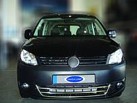 Накладки на передний бампер Volkswagen Caddy FL Trend (2010-2014) 3 части (нерж.)