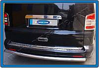 Накладки на задний бампер Volkswagen T5 Caravelle (2010-) нерж.- с надписью Omsa