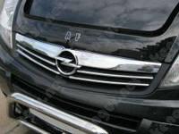 Накладки на решетку радиатора Opel Vivaro II (2008-) (нерж.) 4 шт