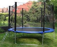 Батут GreenLight діаметром 312см (10ft) спортивний для дітей драбинкою і зовнішньою сіткою