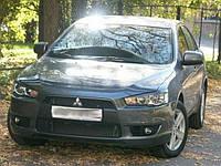 Реснички на фары Mitsubishi Lancer 10 Передние стеклопластик (Orticar)