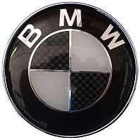 Эмблема BMW 74 мм выс. качества карбон черный