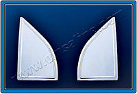 Накладка на стекло-косынку (уголок) Nissan Navara D40 (2006+) 2 шт, нерж. Omsa