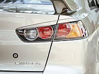Реснички на фары Mitsubishi Lancer 10 Задние стеклопластик (Orticar)