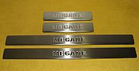 Накладки на пороги Renault Megane 5D,SD,SW (2004-2010) (нерж.) 4 шт.