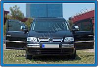 Накладки на передний бампер Volkswagen Caddy Mini (2003-2010) нерж.2 шт.(Брови) Omsa