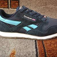 Подростковые+женские демисезонные кроссовки Reebok classic синие с голубым.