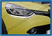 Накладки на передние фонари Renault Clio IV HB 5D (2012-) (нерж.) 2 шт.