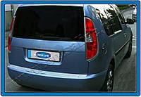 Накладки на задний бампер Skoda Roomster (2007-) (нерж.)- Матированный Omsa