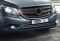 Накладки на передний бампер Mercedes Vito W447 (2014-) (нерж.) 2 шт. (на авто без окон)