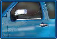 Накладки на ручки Nissan Navara D40 (2006-) 2-дв. - с отверс. под сенсор нерж. Omsa