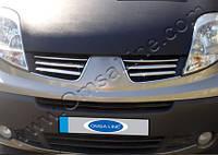 Накладки на решетку радиатора RenaultTrafic (2008-2010) (нерж.) 6 шт