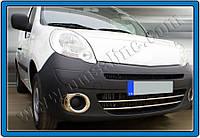 Накладки на передний бампер Renault Kangoo (2008-) нерж.2 шт. Omsa