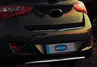 Накладка на задний бампер Hyundai i30 HB 5D 2012- (нерж.) - Матированный Omsa