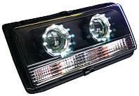 Передние фары ВАЗ 2107 черные с ангельскими глазками