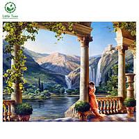 """Картина для рисования камнями Diamond painting Алмазная вышивка """"Замок принцессы и горный водопад"""" полная, фото 1"""