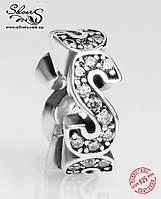 """Серебряная подвеска-шарм Пандора (Pandora) """"Разделитель S"""" для браслета"""