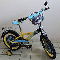 Детский велосипед Мотогонщик двухколёсный для мальчика желтый