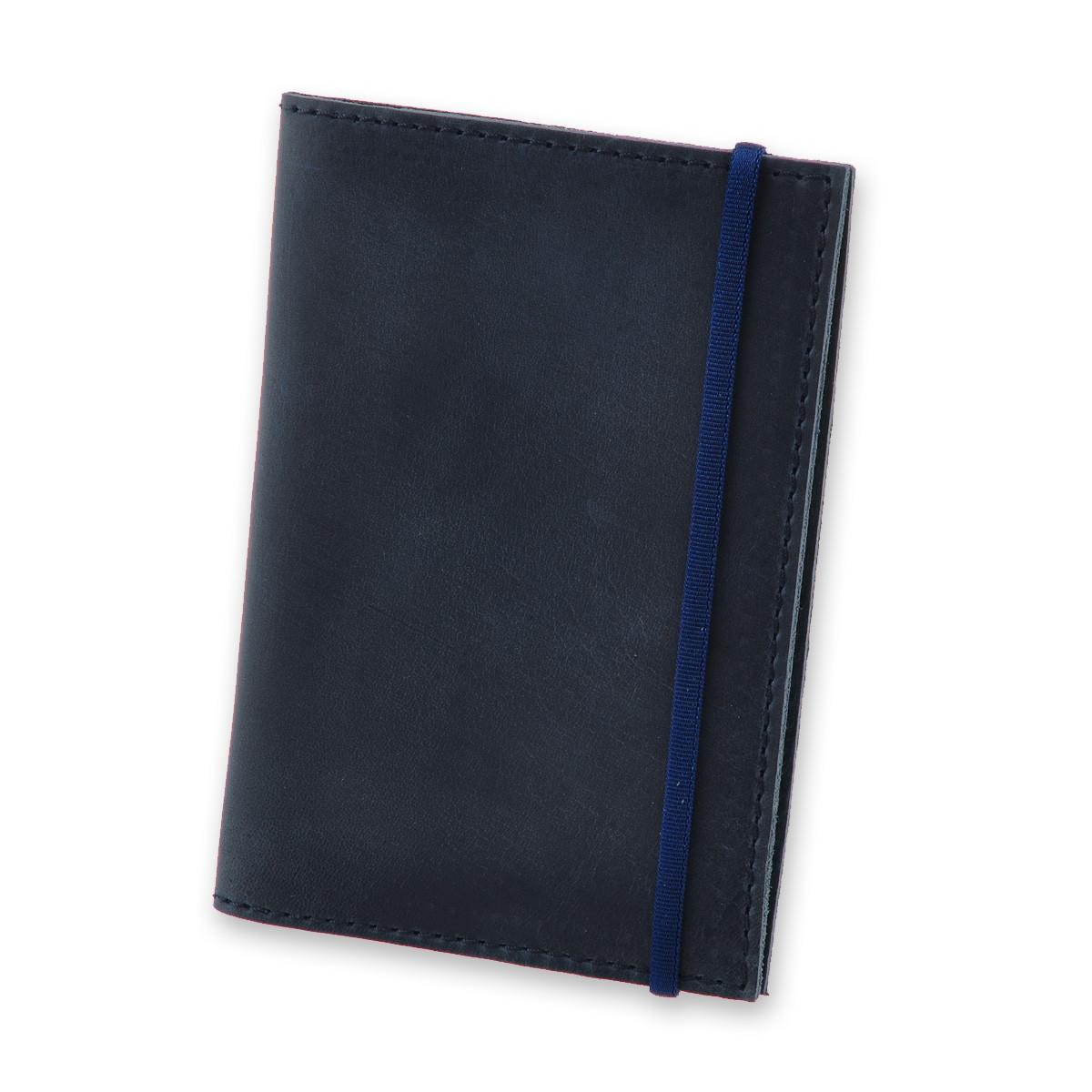 Кожаная обложка для паспорта синяя