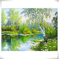 """Картина для рисования камнями Diamond painting Алмазная вышивка """"Береза возле реки"""" полная, фото 1"""