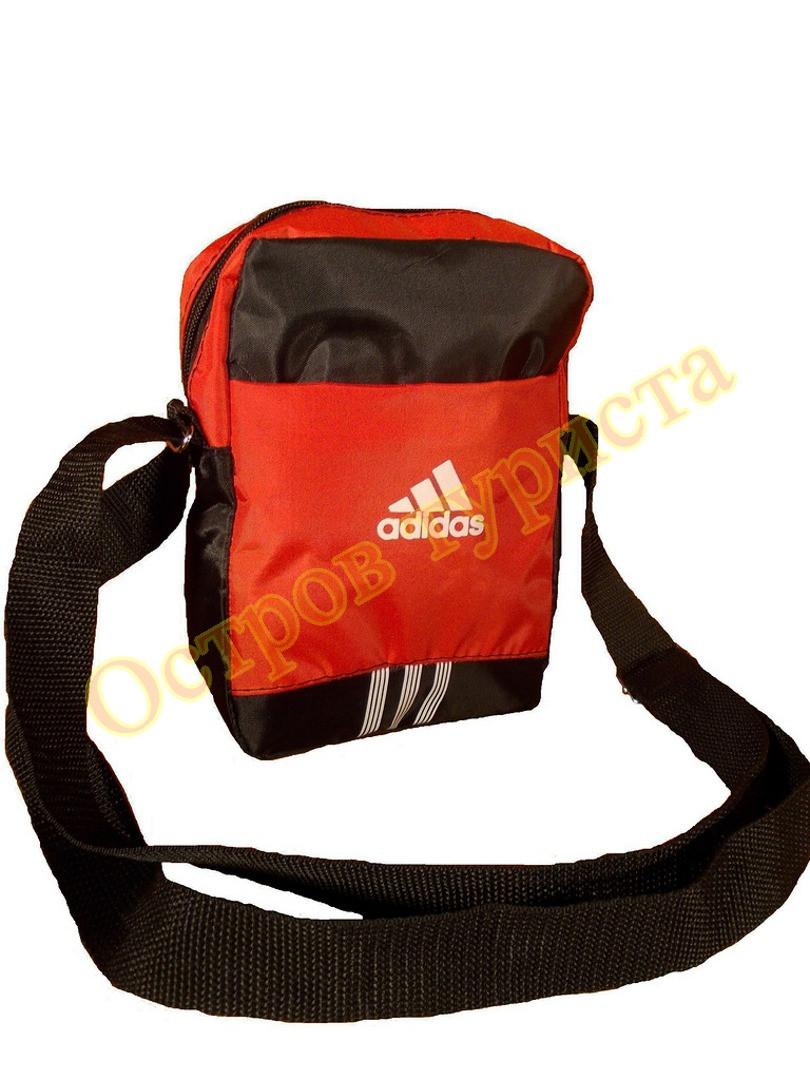 Барсетка сумка спортивная ADIDAS 31черно-красная