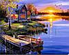 """Картина для рисования камнями Diamond painting Алмазная вышивка """"Вечер, домик, лодка у реки"""" полная"""
