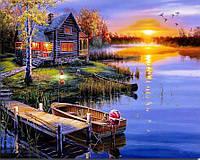 """Картина для рисования камнями Diamond painting Алмазная вышивка """"Вечер, домик, лодка у реки"""" полная, фото 1"""