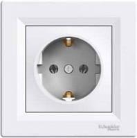Розетка с заземлением Schneider Electric Asfora (Шнайдер Асфора), белая, EPH2900121