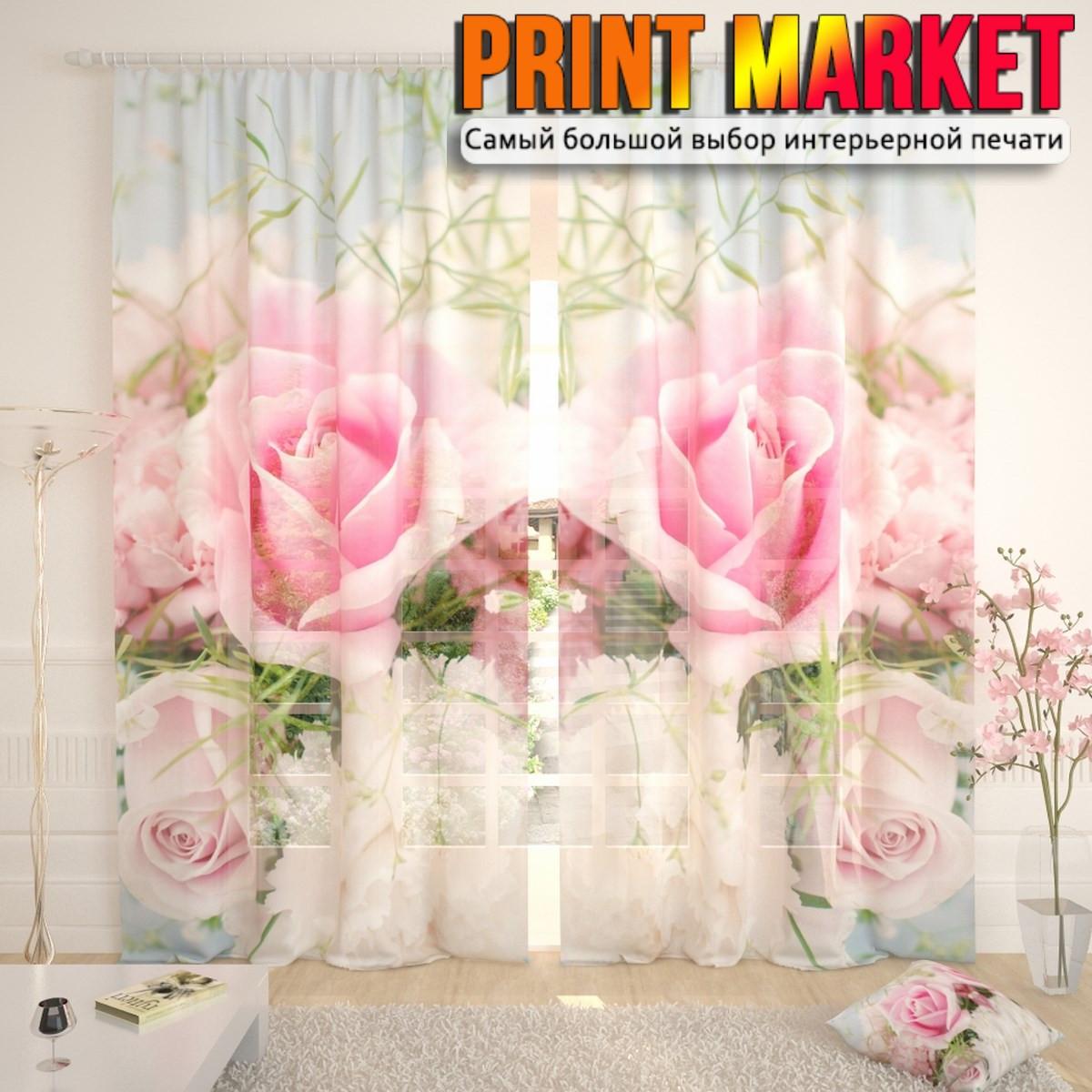 Фототюль розовые розы в букете