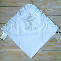 Елегантная крыжма  на крестины с капюшоном
