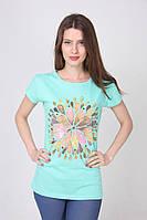 """Женская бирюзовая футболка с ресунком """"Цветок"""""""
