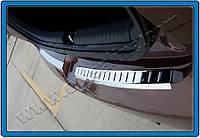Накладка на задний бампер Hyundai i20 HB 5D 2014- (нерж.) - Матированный Omsa