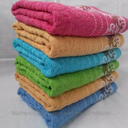Махровые банные полотенца с красивой отделкой. Размер:1,4x0,7