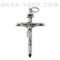 Крестик нательный католический из серебра 6