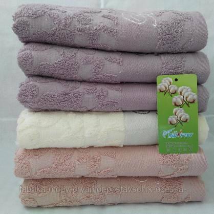 Лицевые махровые полотенца пастельных цветов. Размер: 1,0 x 0,5