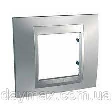 Рамка одномоместная Schneider electric Unica TOP Metall(металическая) Хром матовый/алюминий